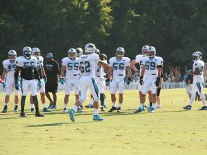 Linebacker drills at Carolina Panthers training camp