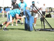 Carolina Panthers offensive line drills