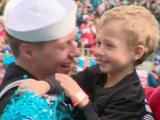 Petty Officer Third Class David Fletcher and his son, Solomon