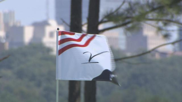 Celebrities and coaches were out in force Sunday at Raleigh's Lonnie Poole golf course for the  19th Jimmy V Celebrity Golf Classic.