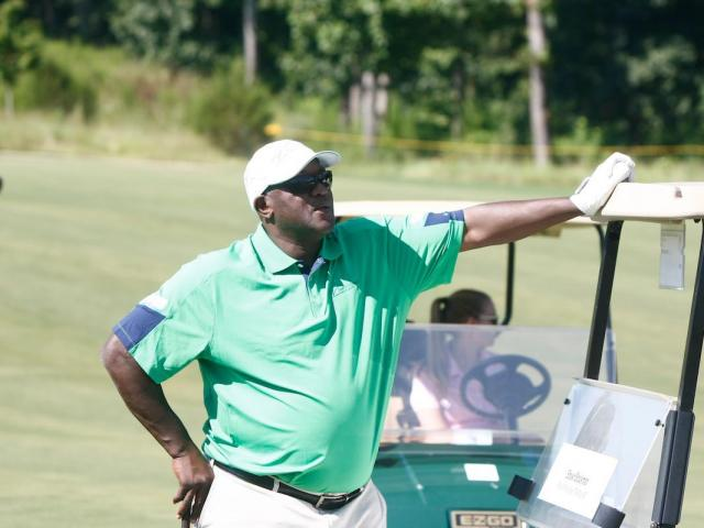Dereck Whittenburg surveys the course during the 19th annual Jimmy V Celebrity Golf Classic on August 26, 2012 at the Lonnie Poole Golf Course in Raleigh, NC.<br/>Photographer: Jerome  Carpenter