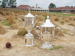 The US Open men's and women's trophies at No. 2 in Pinehurst, Monday, April 14, 2014.