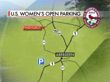 Fans of the women's U.S. Open are asked to park in the the Blue Lot on Sand Pit Road near Roseland Road.