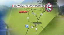 IMAGES: One main parking lot funnels fans to women's U.S. Open