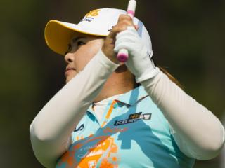 Inbee Park watches her tee shot on the 17th hole during a practice round before the 2014 U.S. Women's Open at Pinehurst Resort & C.C. in Village of Pinehurst, N.C. on Wednesday, June 18, 2014.  (Copyright USGA/Darren Carroll)