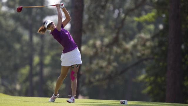 Michelle Wie watches her tee shot on the 11th hole during the practice round of the 2014 U.S. Women's Open at Pinehurst Resort & C.C. in Village of Pinehurst, N.C. on Monday, June 16, 2014.  (Copyright USGA/Matt Sullivan)