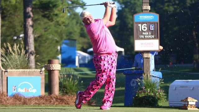 John Daly tees off on the 16th hole on the first day of the 2014 Wyndham Championship. Sedgefield Country Club hosted the 2014 Wyndham Championship on August 14, 2014 in Greensboro, North Carolina. (Jerome Carpenter/WRAL Contributor)