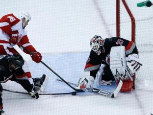 Tim Gleason helps Cam Ward block the shot of Detroit Red Wings forward Tomas Holmstrom on October 13, 2008.