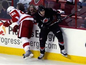 Carolina Hurricanes left wing Wade Brookbank on October 13, 2008.