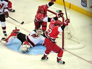 Early in the second period, Staal scores to give the 'Canes a 2-0 advantage.  Photo by Mike Hurst.