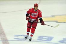 Captain Brind'Amour had an assist and showed confidence and experience in the 4-1 win against Boston.  Photo by Mike Hurst.