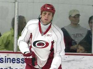 Hurricanes Captain Rod Brind'Amour at practice, sporting the black eye he developed after taking a puck to the face in Game 7 at Boston.