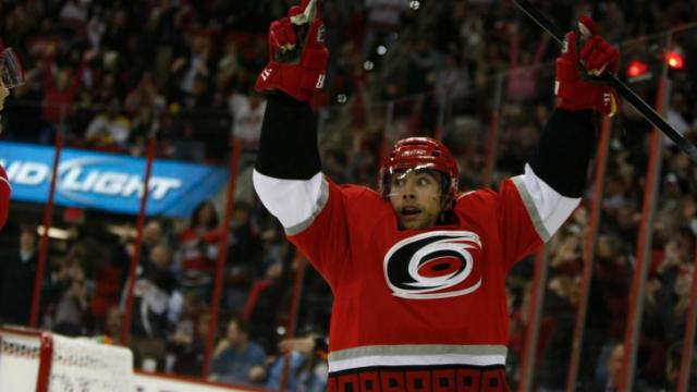 Ruutu celebrates after his second goal during the Penguins vs. Hurricanes game on November 12, 2011 in Raleigh, NC.
