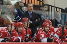 Head Coach Paul Maurice during the Carolina Hurricanes vs. Toronto Maple Leafs game, Sunday, November 20, 2011 at the RBC Center in Raleigh, NC.