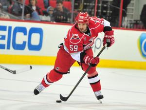 Chad LaRose (59) during the Carolina Hurricanes vs. Toronto Maple Leafs game, Sunday, November 20, 2011 at the RBC Center in Raleigh, NC.