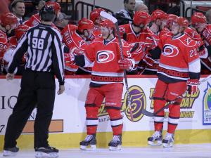Carolina Hurricanes center Jeff Skinner (53) goes to the bench after scoring a goal during the game Thursday January 24, 2013. (Photo by Jack Tarr)