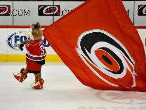 Stormy celebrates after the Hurricanes vs Ottawa Senators game on February  01, 2013  in Raleigh North Carolina. (Photos By Anthony Barham)