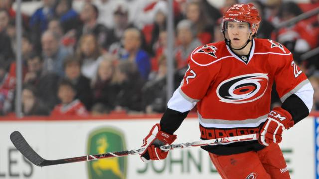 Carolina Hurricanes center Zac Dalpe (22)  during the Hurricanes vs Ottawa Senators game on February  01, 2013  in Raleigh North Carolina. (Photos By Anthony Barham)