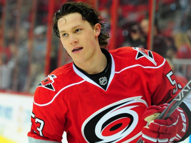 Jeff Skinner (53) before the Carolina Hurricanes vs. Pittsburgh Penguins NHL hockey game, Thursday, February 28, 2013 in Raleigh, NC.<br/>Photographer: Will Bratton