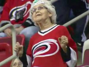 Joyce Johnston entertained as the Dancing Granny at Carolina Hurricanes games.