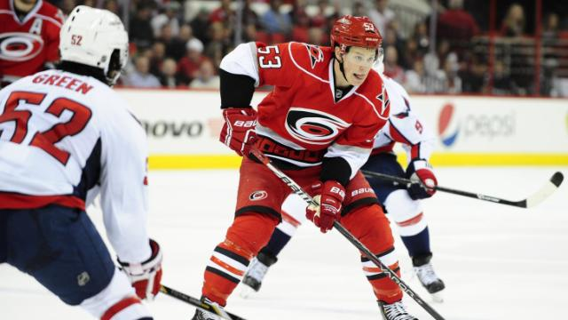 Jeff Skinner (53) looks to pass the puck during the Carolina Hurricanes vs. Washington Capitals NHL hockey game, Tuesday, April 2, 2013 in Raleigh, NC.