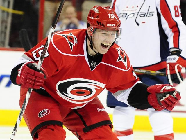 Jiri Tlusty (19) celebrates after scroing his third goal during the Carolina Hurricanes vs. Washington Capitals NHL hockey game, Tuesday, April 2, 2013 in Raleigh, NC.<br/>Photographer: Will Bratton
