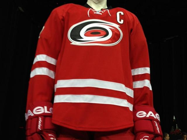 FILE: The Carolina Hurricanes unveiled new home and away uniforms Tuesday at PNC Arena.