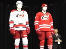 The Carolina Hurricanes unveiled new home and away uniforms Tuesday at PNC Arena.