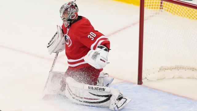 Carolina Hurricanes goalie Cam Ward (30) on Oct. 15, 2013  in Raleigh. (Photos By Anthony Barham)