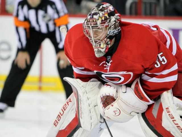 Carolina's Justin Peters during the Hurricanes' 3-1 home loss to the Pittsburgh Penguins at PNC Arena on Monday, October 28, 2013 in Raleigh, NC (Photo by Jack Morton).