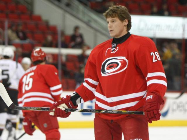 Alexander Semin (28) warms up before the start of the game. The Hurricanes hosted the Ducks on November 15, 2013  at the PNC Center in Raleigh, North Carolina.<br/>Photographer: Jerome Carpenter