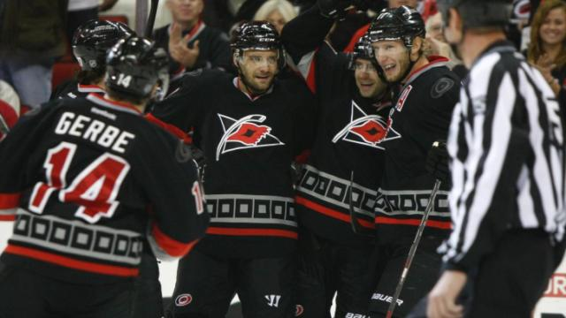 The Canes celebrate a goal. The Hurricanes defeated the Maple Leafs 6-1 on January 9, 2014 at the PNC Arena in Raleigh, North Carolina. Photo by: Jerome Carpenter
