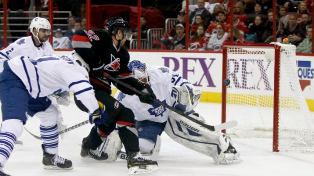 Zach Boychuk (32) in front of the net. The Hurricanes defeated the Maple Leafs 6-1 on January 9, 2014 at the PNC Arena in Raleigh, North Carolina. Photo by: Jerome Carpenter