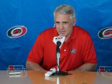Hurricanes general manager Ron Francis discusses the firing of head coach Kirk Muller with the media, Monday, May 5, 2014 at PNC Arena.