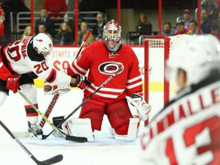 Eddie Lack (31) of the Carolina Hurricanes stunned by a third period goal. The Carolina Hurricanes host the New Jersy Devils on Thursday December 2, 2015 in Raleigh N.C. The Devils jumped on top early and never let up, defeating the Hurricanes 5 to 1. (Chris Baird / WRAL Contributor).
