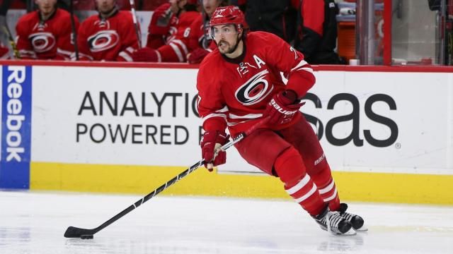 Justin Faulk (27) of the Carolina Hurricanes. The New York Rangers visit Raleigh N.C. on Thursday March 31, 2016 for Eric Staal's return. The Canes played inspired hockey and hold off the Rangers with a 4 to 3 victory. (Chris Baird / WRAL Contributor).