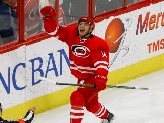 Phillip Di Giuseppe (34) celebrates the game winning goal. Tampa Bay lost to the Carolina Hurricanes 1-0 Sunday December 4, 2016 at PNC Arena in Raleigh, NC (WRAL Contributor Jack Tarr)