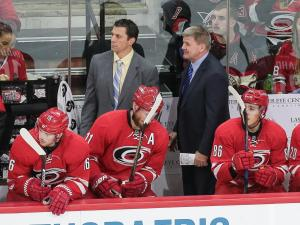 Coach Bill Peters. The Carolina Hurricanes host the Chicago Blackhawks on December 30, 2016 at PNC Arena. The Blackhawks scored first, but the Canes responded and took a gritty victory winning 3 to 2. (Chris Baird / WRAL Contributor).