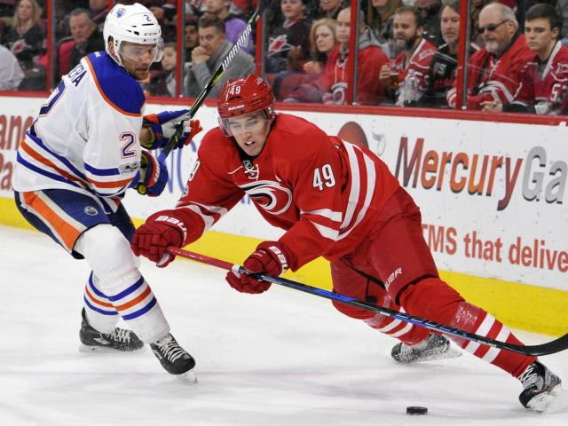 Victor Rask (49) during NHL action at the PNC Arena between the Carolina Hurricanes and the Edmonton Oilers on February 3, 2017 in Raleigh, NC. (Will Bratton/WRAL contributor)