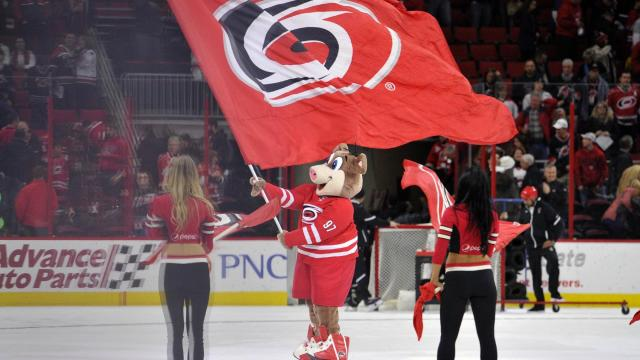 Stormy following NHL action at the PNC Arena between the Carolina Hurricanes and the Edmonton Oilers on February 3, 2017 in Raleigh, NC. (Will Bratton/WRAL contributor)