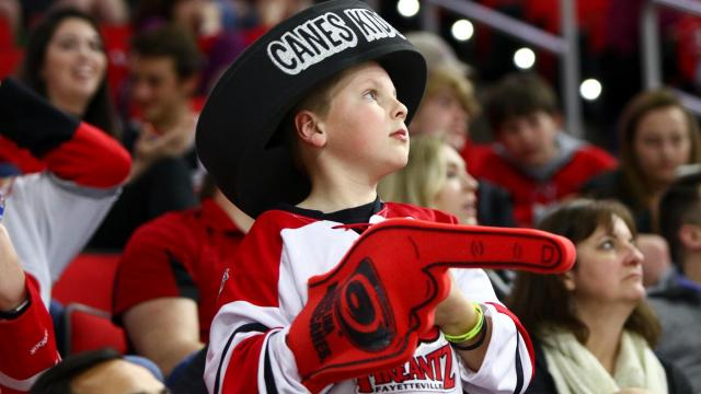 A Canes fan during the game. Carolina lost to Colorado in overtime, 2-1, at the PNC Arena in Raleigh, NC on February 17, 2017. (Photo by: Jerome Carpenter/WRAL Contributor)
