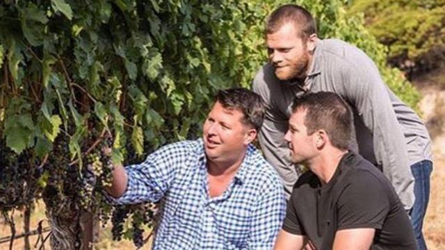 Cam Ward, Tim Gleason, Jason Earnest pick grapes for Vineyard 36.