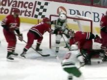 Slavin's shootout goal pushes Canes past Wild
