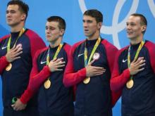 Nathan Adrian, Ryan Held, Michael Phelps and Caeleb Dressel