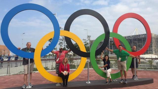 Debra Morgan, Renee Chou and Jeff Gravley along with the rest of the crew from WRAL in Rio