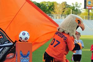 The RailHawks macot Swoops during the Carolina RailHawks vs. Atlanta Silverbacks NASL soccer game in Cary, N.C. Saturday April 14, 2012.