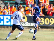 Camilo Sanvezzo scored all three goals for the Vancouver WhiteCaps Sunday as they defeated the Carolina RailHawks at WakeMed Soccer Park.