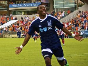 Carolina RailHawks Tiyi Shipalane celebrates his goal during their game against Chivas USA Wednesday, June 12, 2013 at WakeMed Soccer Park in Cary. (Photo by Andrew Drain)