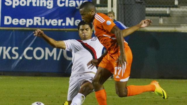 Railhawks defenseman Jordan Graye (17) in action against the Atlanta Silverbacks Saturday night at WakeMed Soccer Park in Cary. The Railhawks won 4-0.
