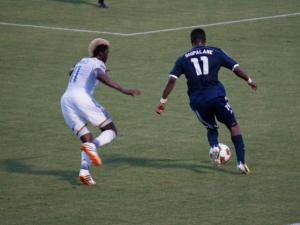 RailHawks Ty Shipalane dribbles up field during their match against the LA Galaxy Tuesday, June 24, 2014 at WakeMed Soccer Park.